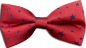 100% Silk Handmade Pre-Tied Bow Tie - Red With Blue Stars